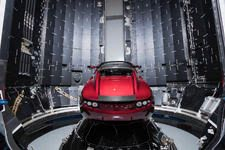 Tesla Roadster being prepped for the Falcon Heavy rocket. (Back View)
